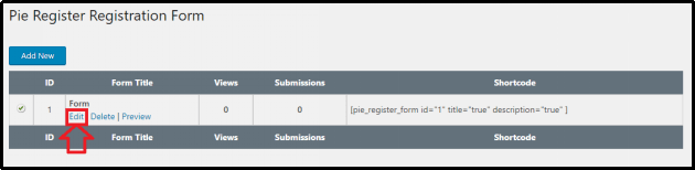 Edit User Registration Form