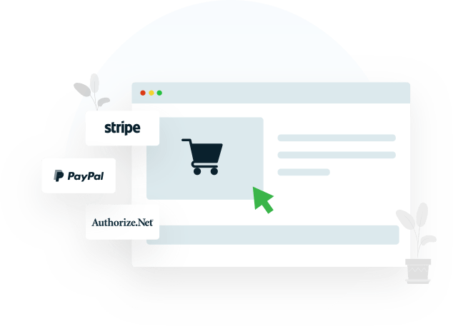 paypal, stripe, authorize.net- payment methods