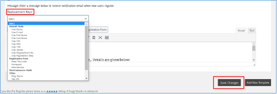 Email Notifications - replacement keys